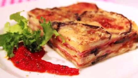 Pastel de berenjena y jamón cocido