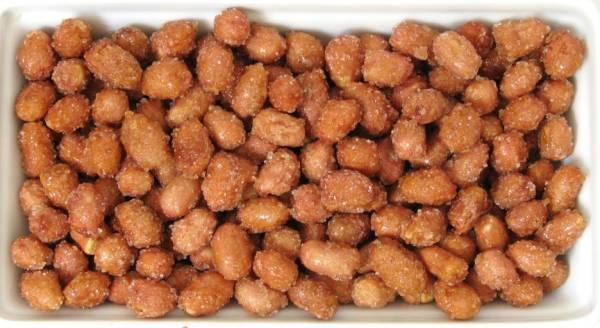 Cacahuetes tostados con miel y azúcar